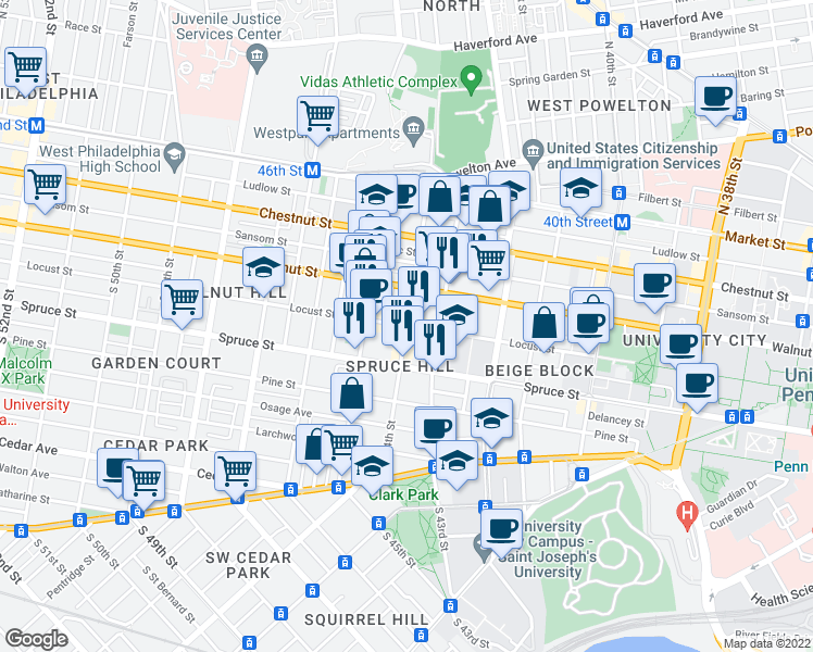 map of restaurants, bars, coffee shops, grocery stores, and more near Locust St & S 44th St in Philadelphia