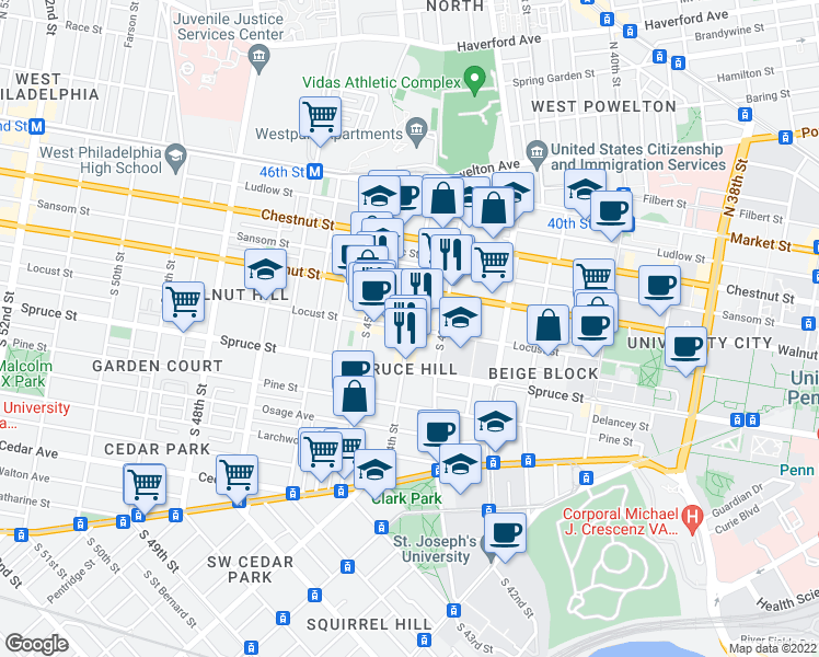 map of restaurants, bars, coffee shops, grocery stores, and more near Locust Street & South 44th Street in Philadelphia
