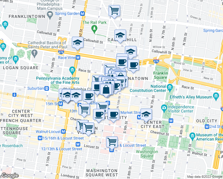 map of restaurants, bars, coffee shops, grocery stores, and more near 1027 Arch Street in Philadelphia
