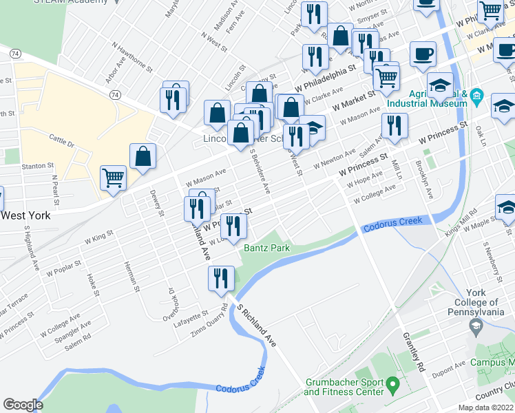 map of restaurants, bars, coffee shops, grocery stores, and more near 726 West Princess Street in York