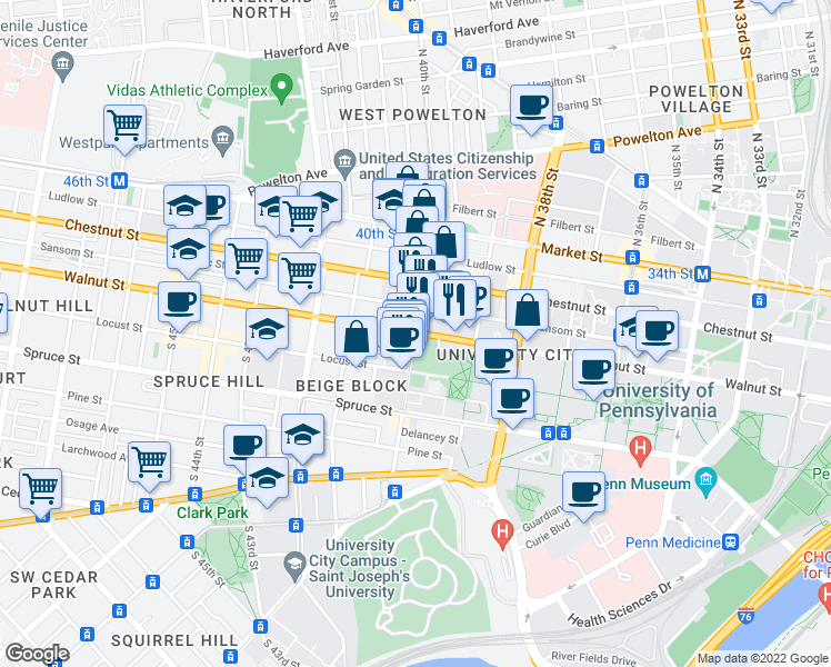 map of restaurants, bars, coffee shops, grocery stores, and more near Walnut Street & South 40th Street in Philadelphia