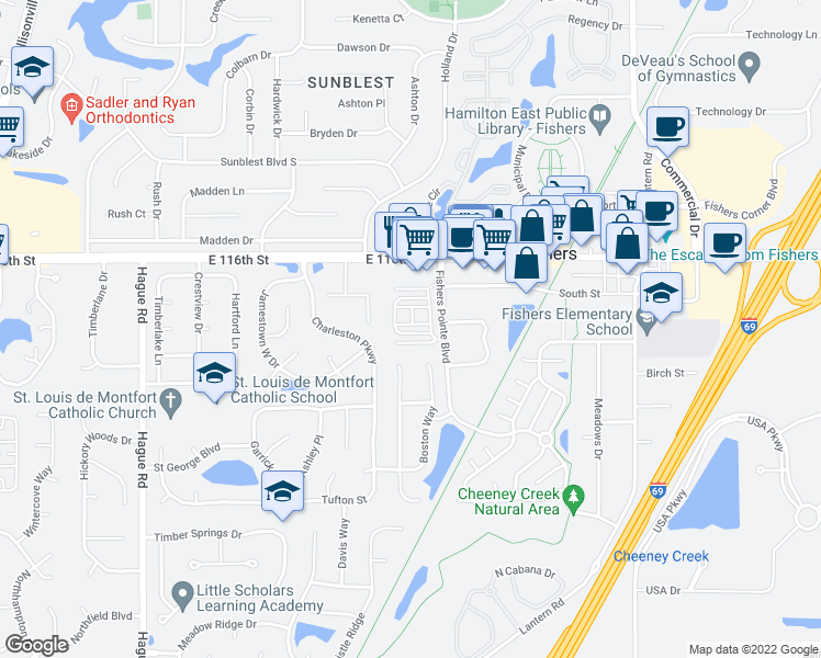 map of restaurants, bars, coffee shops, grocery stores, and more near 8266 Ethan Drive in Fishers