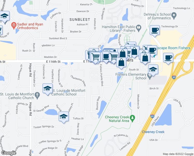 map of restaurants, bars, coffee shops, grocery stores, and more near 8263 Jo Ellen Drive in Fishers