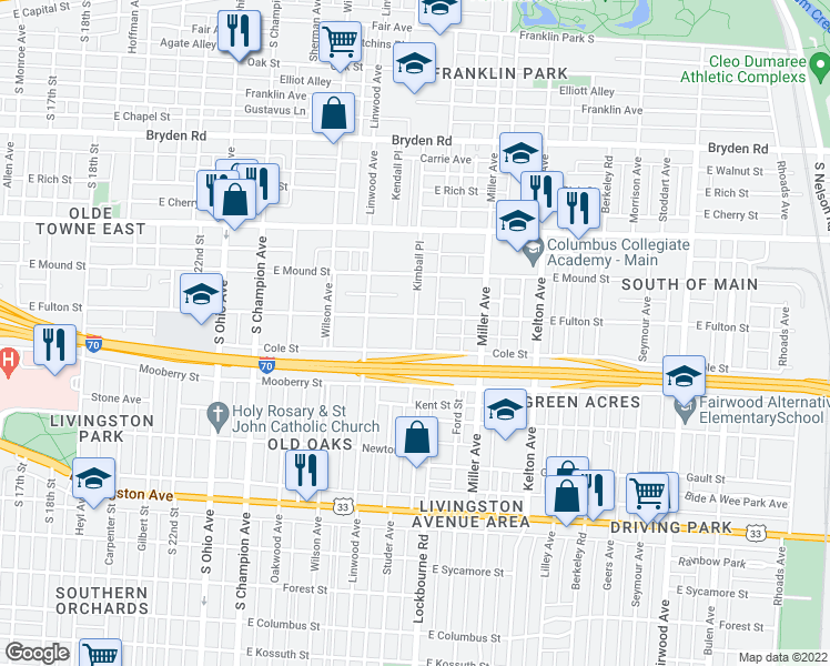 map of restaurants, bars, coffee shops, grocery stores, and more near 564 Kimball Pl in Columbus