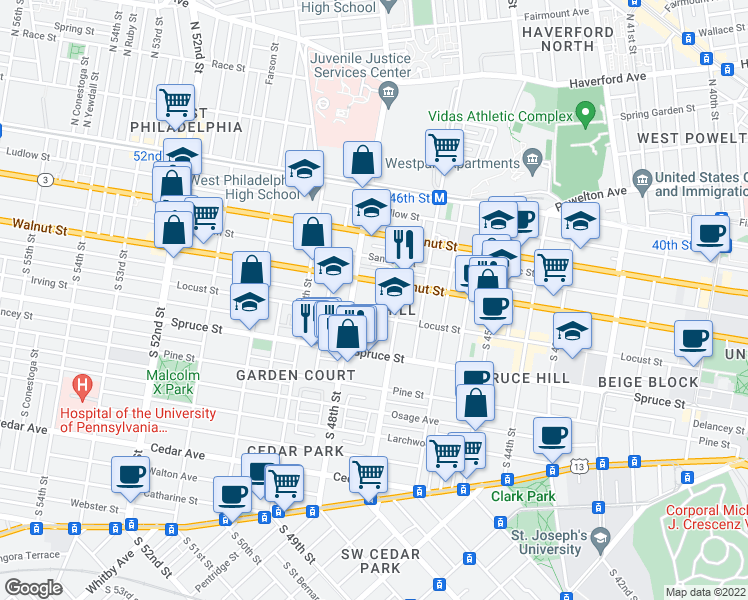 map of restaurants, bars, coffee shops, grocery stores, and more near 220 South 47th Street in Philadelphia
