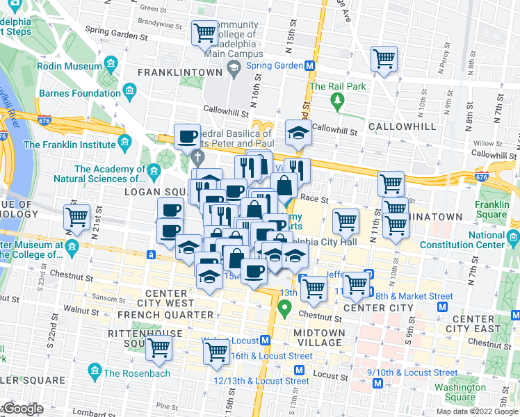 map of restaurants, bars, coffee shops, grocery stores, and more near in MIDDLE CITY EAST