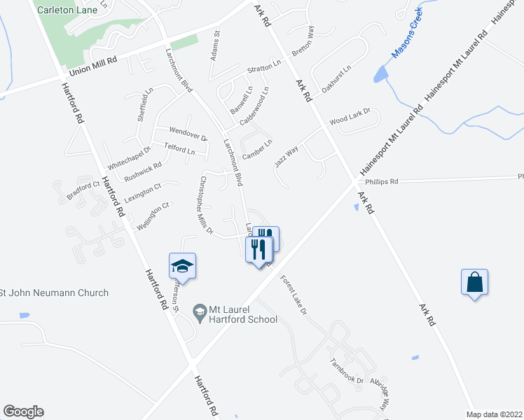 map of restaurants, bars, coffee shops, grocery stores, and more near 402B Ralston Drive in Mount Laurel