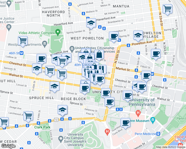 map of restaurants, bars, coffee shops, grocery stores, and more near 3924 Chestnut Street in Philadelphia