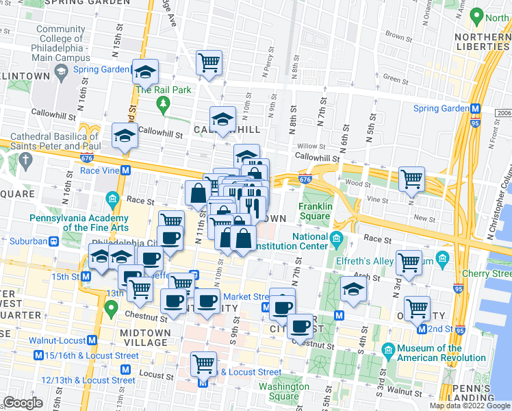map of restaurants, bars, coffee shops, grocery stores, and more near N 9th St & Spring St in Philadelphia
