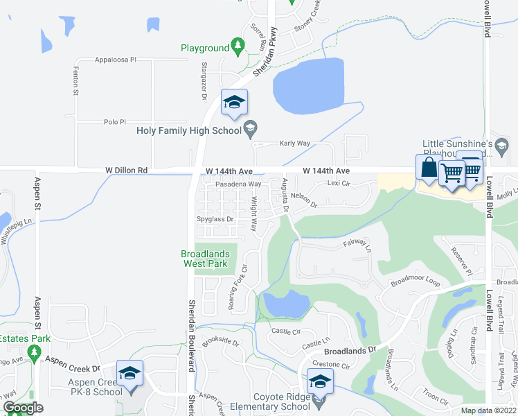 map of restaurants, bars, coffee shops, grocery stores, and more near 14312 Wright Way in Broomfield