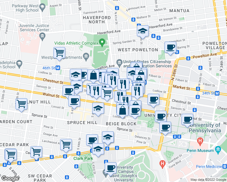 map of restaurants, bars, coffee shops, grocery stores, and more near Chestnut Street & South 42nd Street in Philadelphia