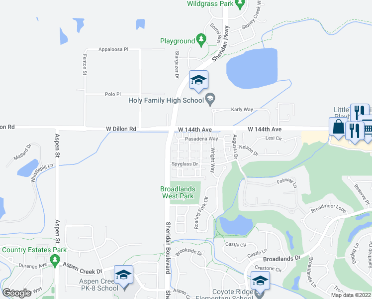 map of restaurants, bars, coffee shops, grocery stores, and more near 14333 Bungalow Way in Broomfield
