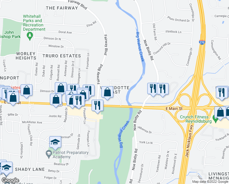 map of restaurants, bars, coffee shops, grocery stores, and more near 5312 Gatehouse Drive in Columbus