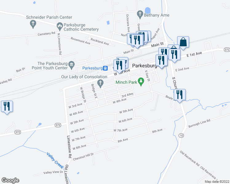 map of restaurants, bars, coffee shops, grocery stores, and more near 509 West 3rd Avenue in Parkesburg