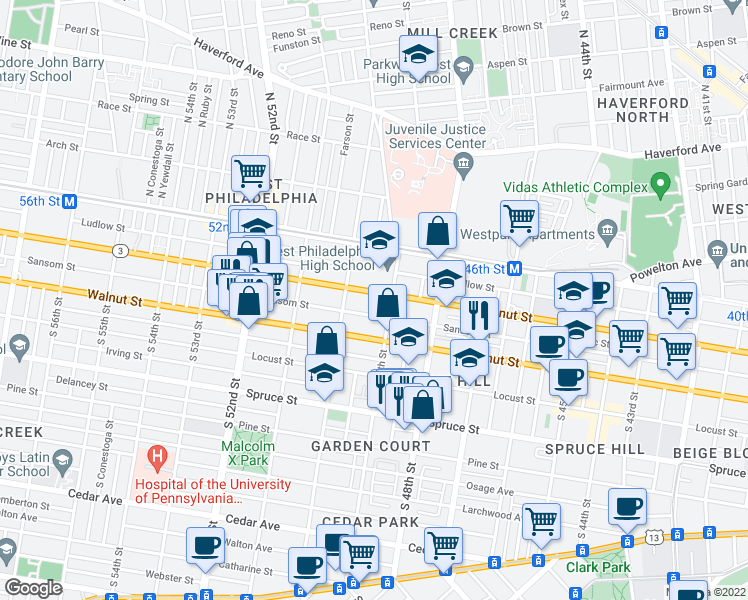 map of restaurants, bars, coffee shops, grocery stores, and more near 4920 Chestnut St in Philadelphia
