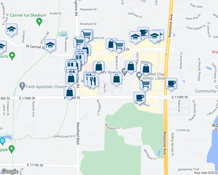map of restaurants, bars, coffee shops, grocery stores, and more near 1825 Jefferson Drive West in Carmel