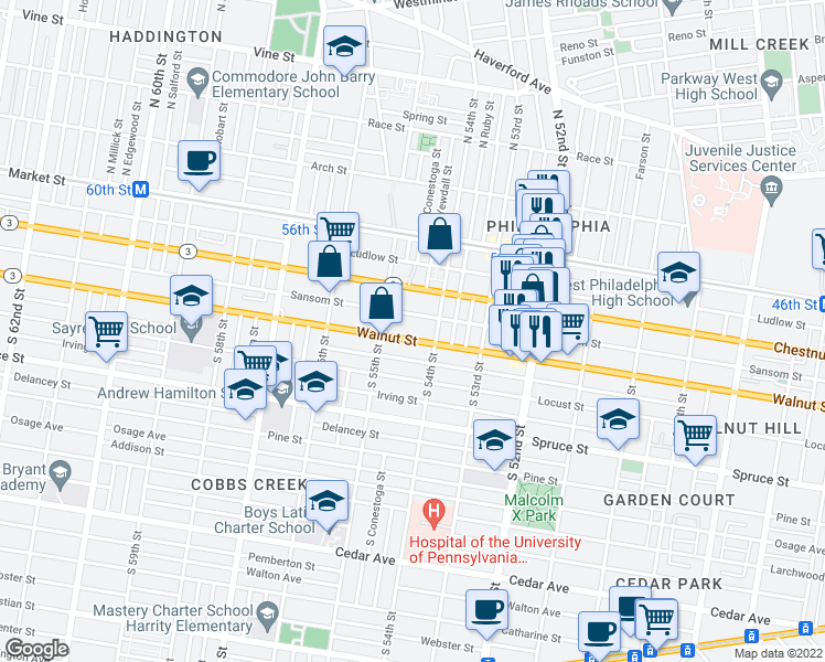 map of restaurants, bars, coffee shops, grocery stores, and more near 5312 Market Street in Philadelphia