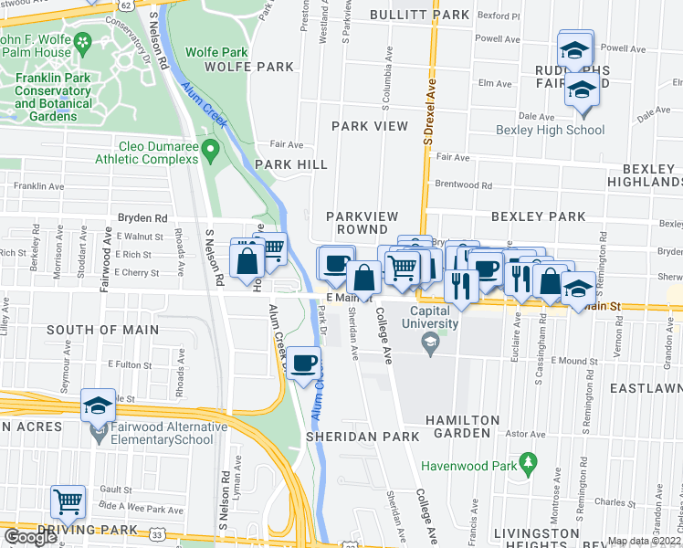 map of restaurants, bars, coffee shops, grocery stores, and more near 500 South Parkview Avenue in Columbus