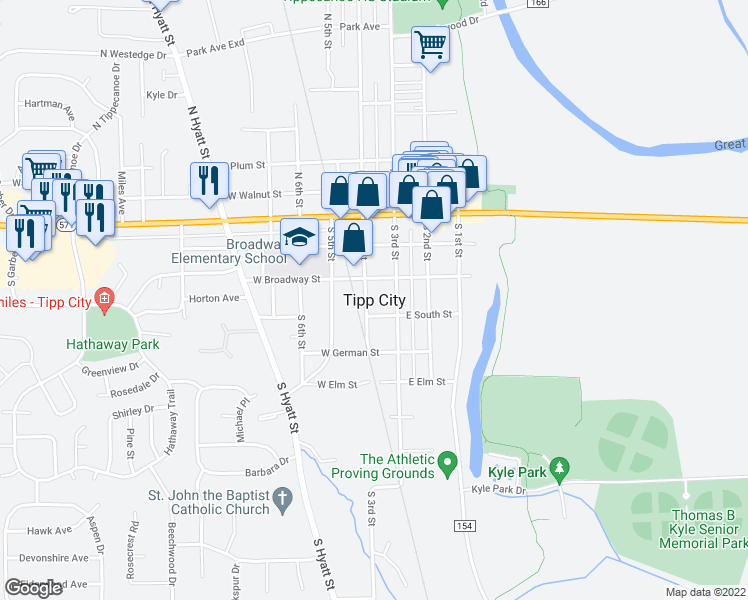 map of restaurants, bars, coffee shops, grocery stores, and more near 216 South 4th Street in Tipp City