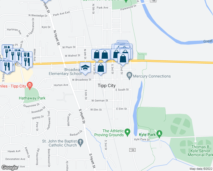 map of restaurants, bars, coffee shops, grocery stores, and more near 220 South 4th Street in Tipp City