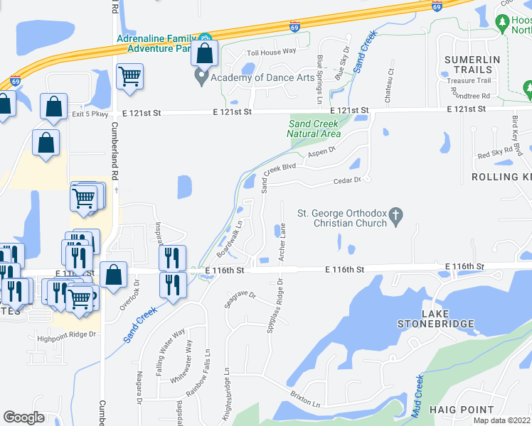 map of restaurants, bars, coffee shops, grocery stores, and more near 11781 Sand Creek Boulevard in Fishers