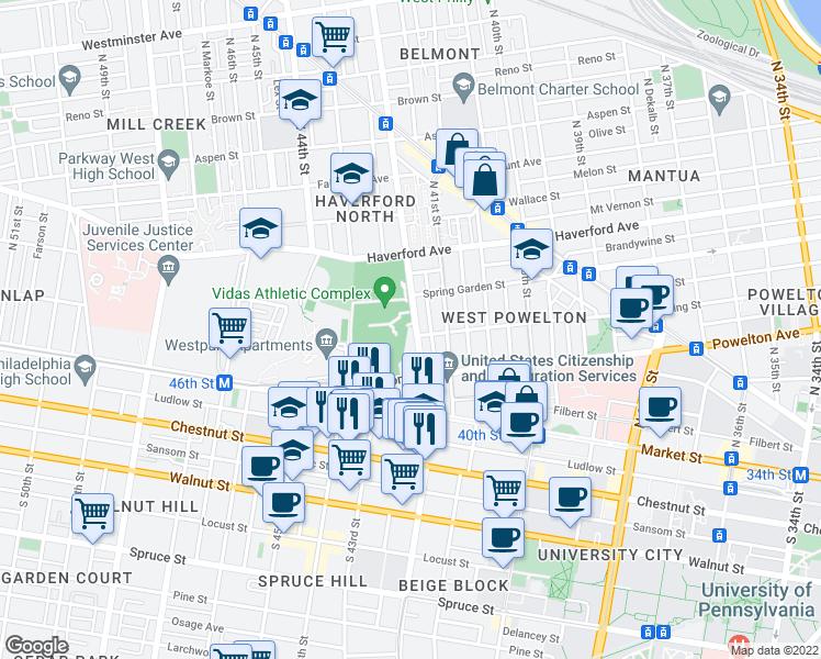map of restaurants, bars, coffee shops, grocery stores, and more near 404 North 42nd Street in Philadelphia