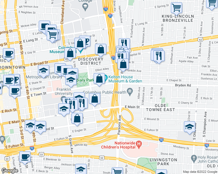 map of restaurants, bars, coffee shops, grocery stores, and more near 603 East Town Street in Columbus