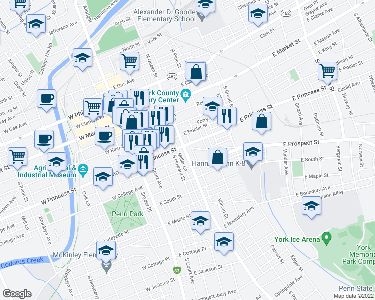 map of restaurants, bars, coffee shops, grocery stores, and more near 211 South Queen Street in York