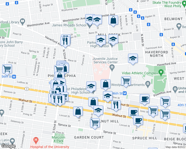 map of restaurants, bars, coffee shops, grocery stores, and more near 111 North 49th Street in Philadelphia