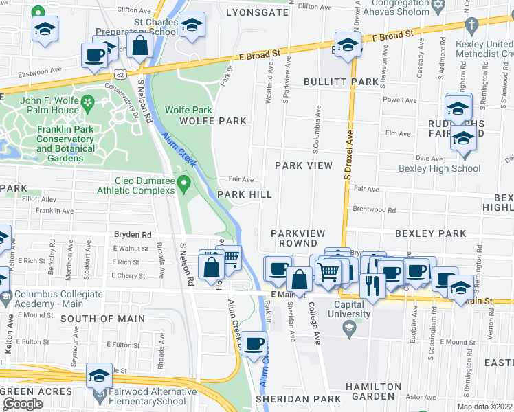 map of restaurants, bars, coffee shops, grocery stores, and more near 2111 Park Hill Drive in Columbus