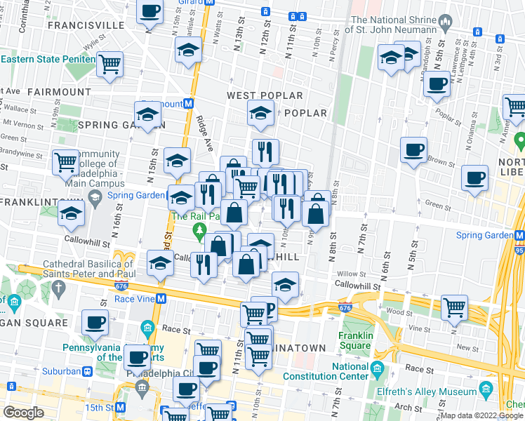map of restaurants, bars, coffee shops, grocery stores, and more near Spring Garden Street & North 11th Street in Philadelphia