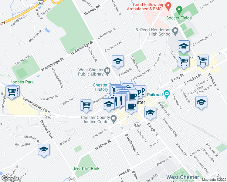 map of restaurants, bars, coffee shops, grocery stores, and more near North Church Street & West Washington Street in West Chester