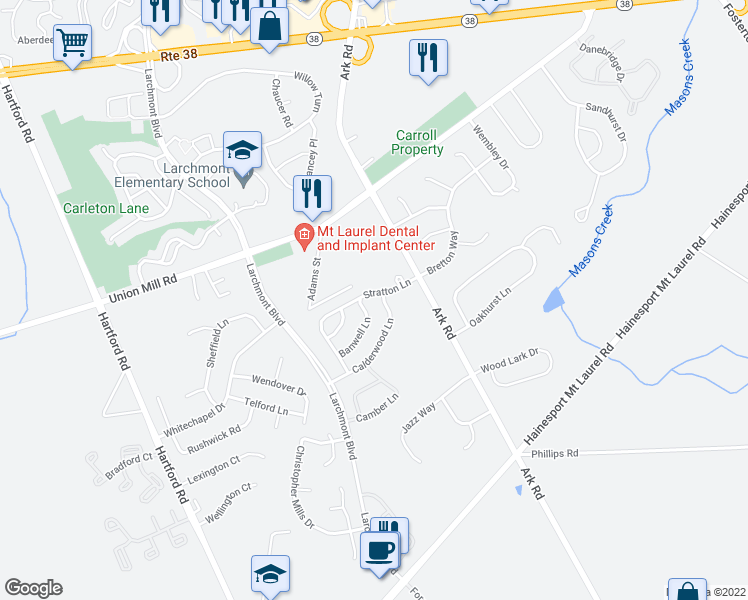 map of restaurants, bars, coffee shops, grocery stores, and more near 152 Calderwood Lane in Mount Laurel