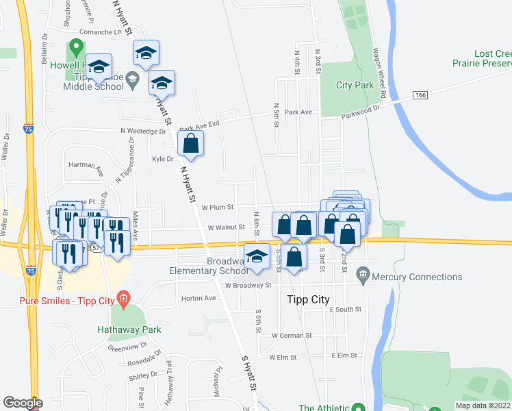 map of restaurants, bars, coffee shops, grocery stores, and more near North 6th Street in Tipp City