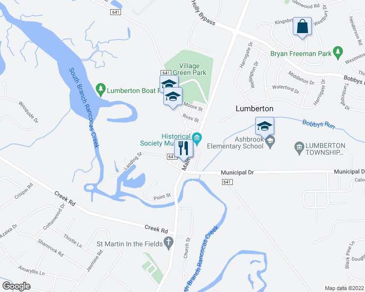map of restaurants, bars, coffee shops, grocery stores, and more near 589 Walnut Street in Lumberton