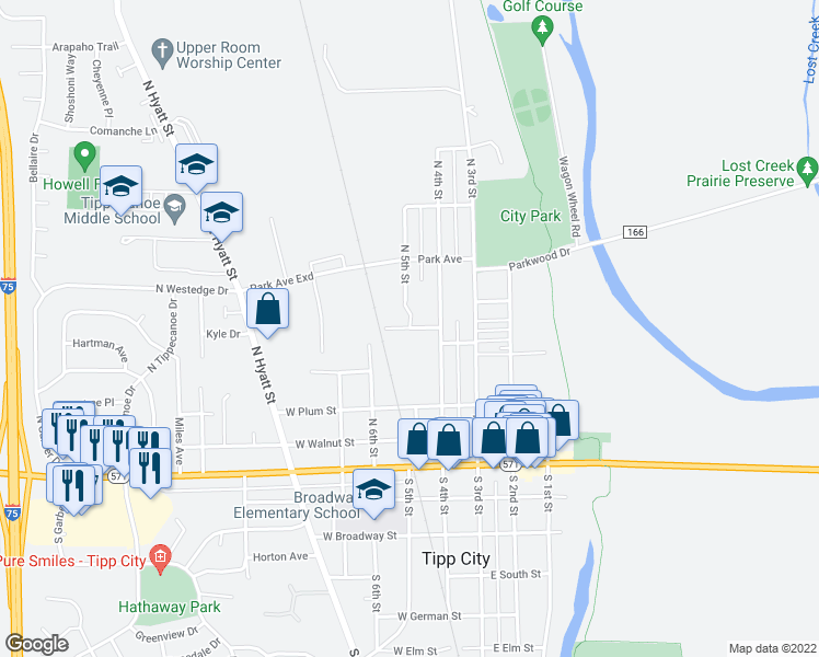 map of restaurants, bars, coffee shops, grocery stores, and more near West Franklin Street in Tipp City
