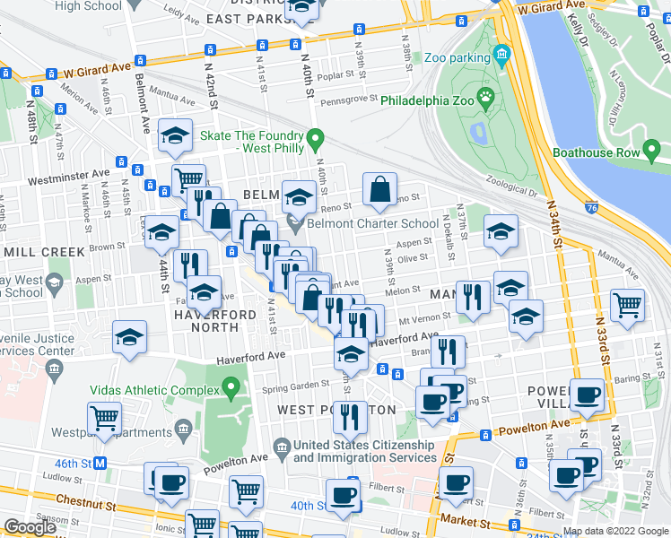 map of restaurants, bars, coffee shops, grocery stores, and more near North 40th Street in Philadelphia