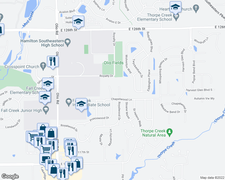 map of restaurants, bars, coffee shops, grocery stores, and more near 12143 Princewood Court in Fishers