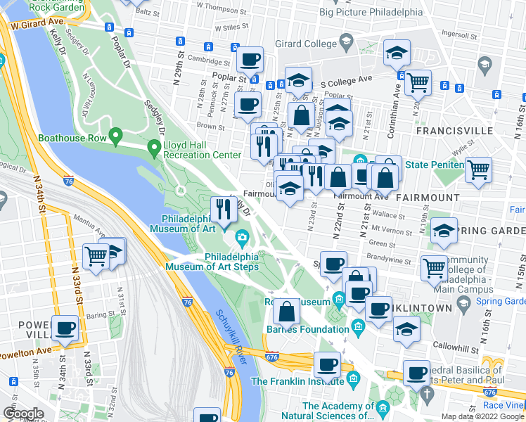 map of restaurants, bars, coffee shops, grocery stores, and more near Pennsylvania Avenue in Philadelphia
