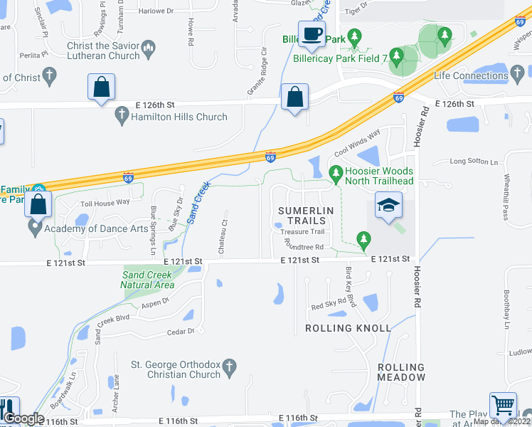 map of restaurants, bars, coffee shops, grocery stores, and more near 12240 Sweet Creek Trail in Fishers