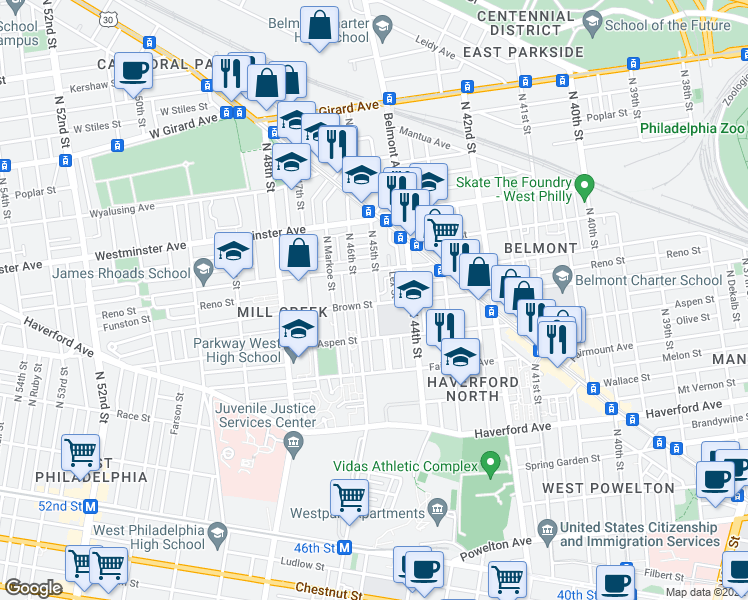 map of restaurants, bars, coffee shops, grocery stores, and more near 4501 Brown Street in Philadelphia