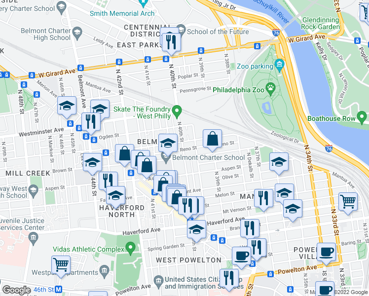 map of restaurants, bars, coffee shops, grocery stores, and more near 819 N 40th St in Philadelphia