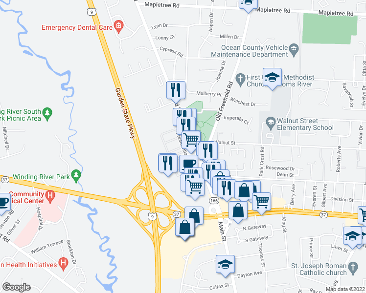 map of restaurants, bars, coffee shops, grocery stores, and more near 950-954 Presidential Avenue in Toms River