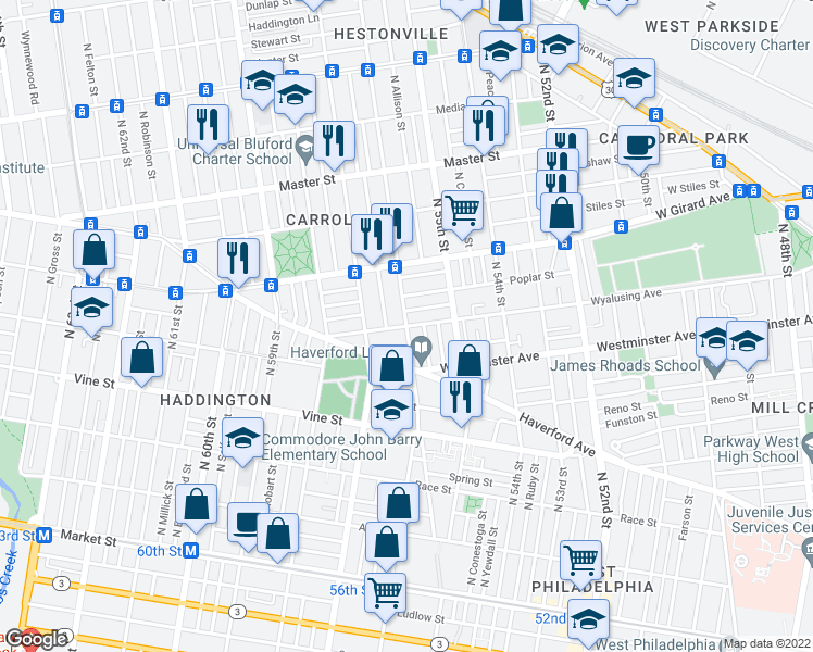 map of restaurants, bars, coffee shops, grocery stores, and more near N 56th St & Wyalusing Ave in Philadelphia