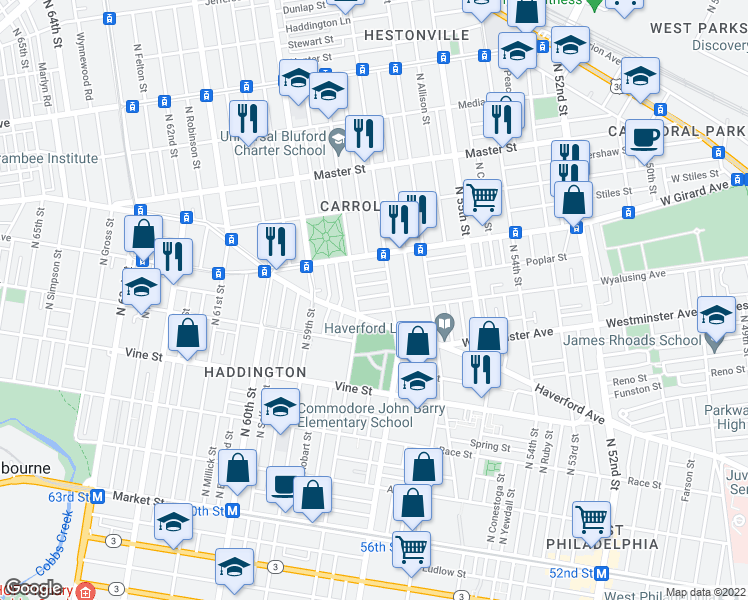 map of restaurants, bars, coffee shops, grocery stores, and more near 5718 Harmer Street in Philadelphia