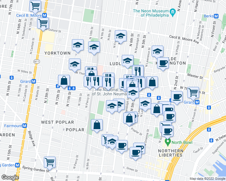 map of restaurants, bars, coffee shops, grocery stores, and more near N 7th St & W Girard Ave in Philadelphia