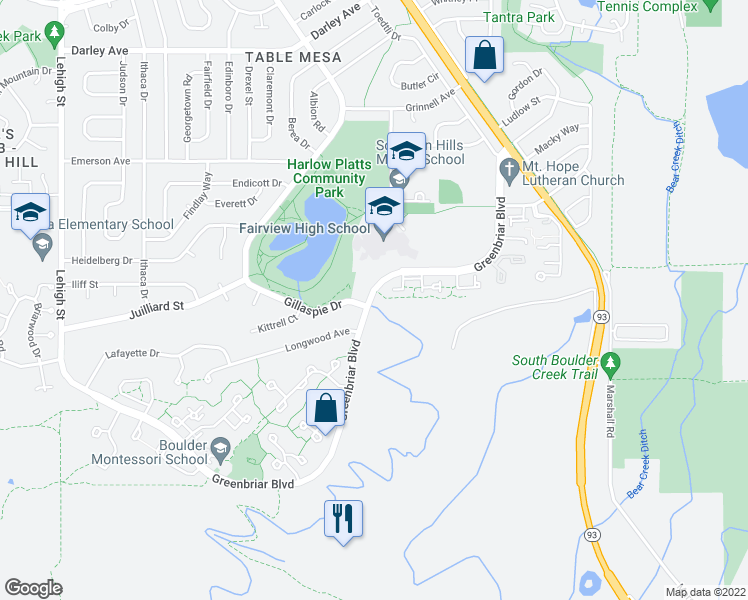 map of restaurants, bars, coffee shops, grocery stores, and more near 4088 Greenbriar Boulevard in Boulder