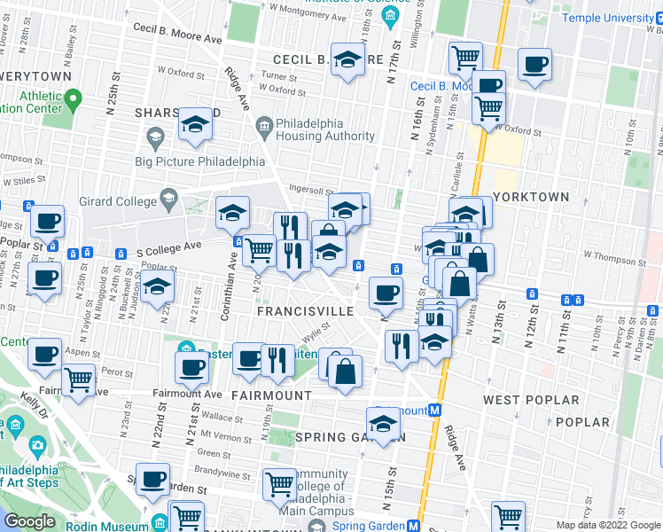 map of restaurants, bars, coffee shops, grocery stores, and more near 1734 West Girard Avenue in Philadelphia