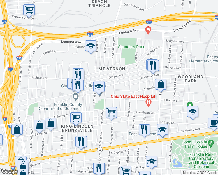 map of restaurants, bars, coffee shops, grocery stores, and more near 1245 Mount Vernon Avenue in Columbus