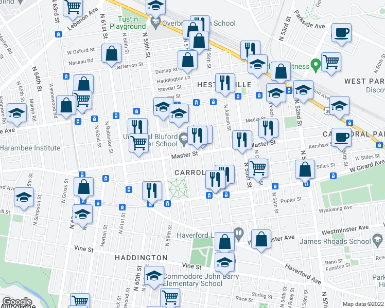 map of restaurants, bars, coffee shops, grocery stores, and more near Master St & N Alden St in Philadelphia